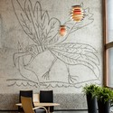 """From the Y-block. """"The Seagull"""" a mural by Pablo Picasso. Image © Trond Isaksen / Statsbygg"""