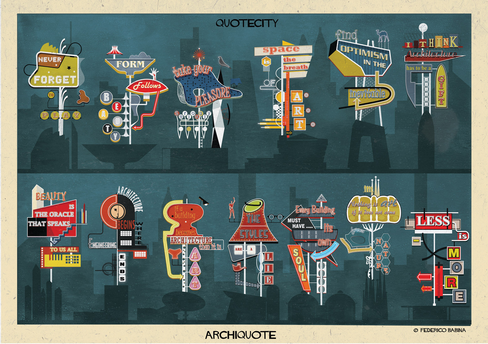 ARCHIQUOTE: 13 Billboards Advertising Architecture's Most Influential Concepts, Courtesy of Federico Babina