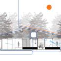 Sección bioclimática que indica los flujos de ventilación natural, agua de lluvia y la recolección de energía solar.. Image Cortesia de A-01