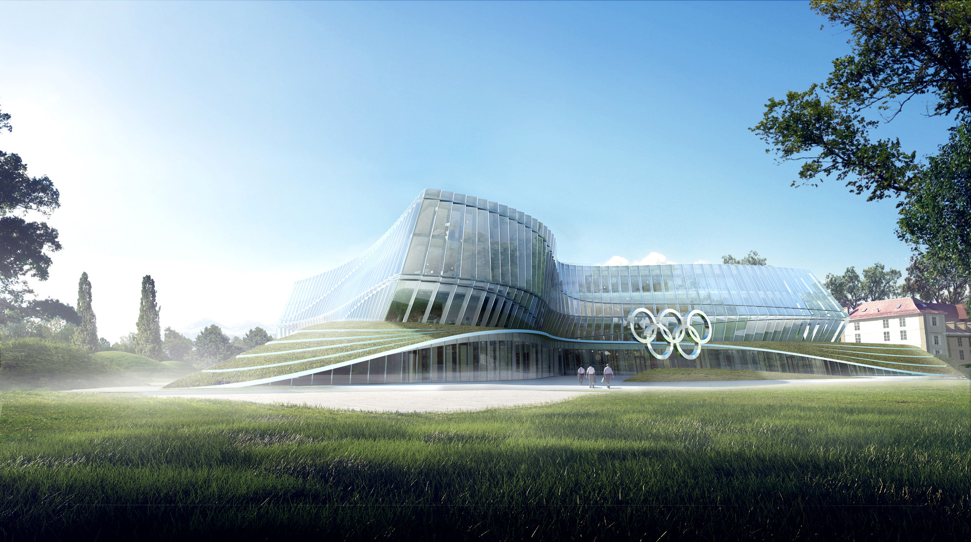 Images Released of 3XN's Olympic Headquarters in Lausanne , North View. Image © 3XN