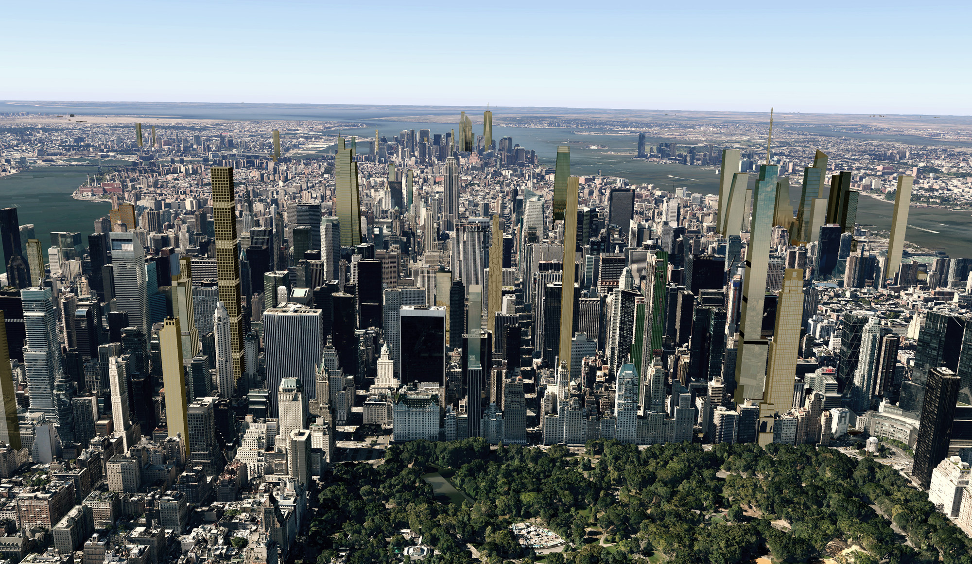 "Why New York Shouldn't be a City for the One Percent, View above Central Park looking south towards ""Billionaire's Row"" towers, with Midtown towers in background and various Financial District and Downtown Brooklyn Towers in far background. Image Courtesy of CityRealty"