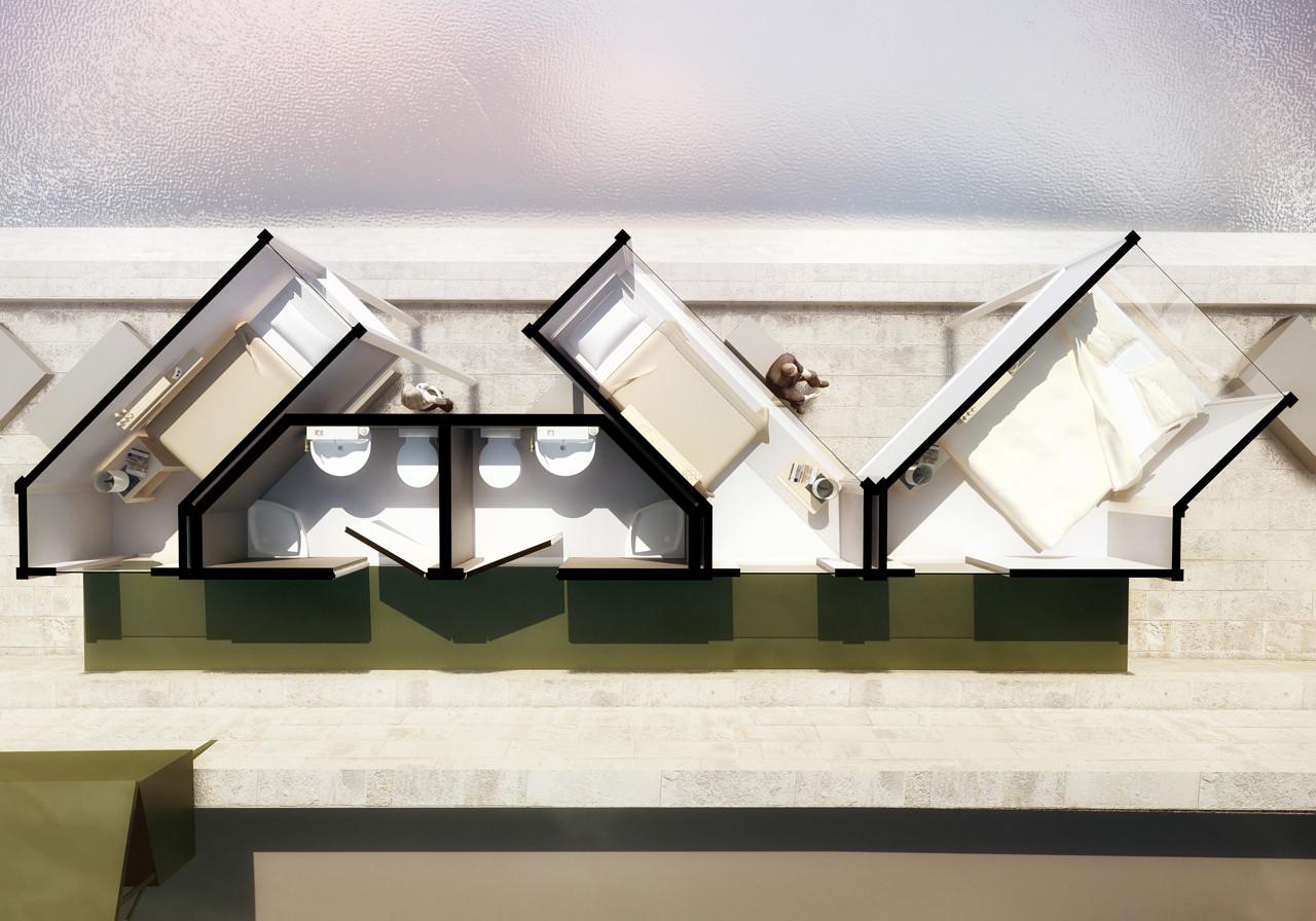 Gallery of menomenopiu proposes capsule hotel for short for Hotel design paris 8