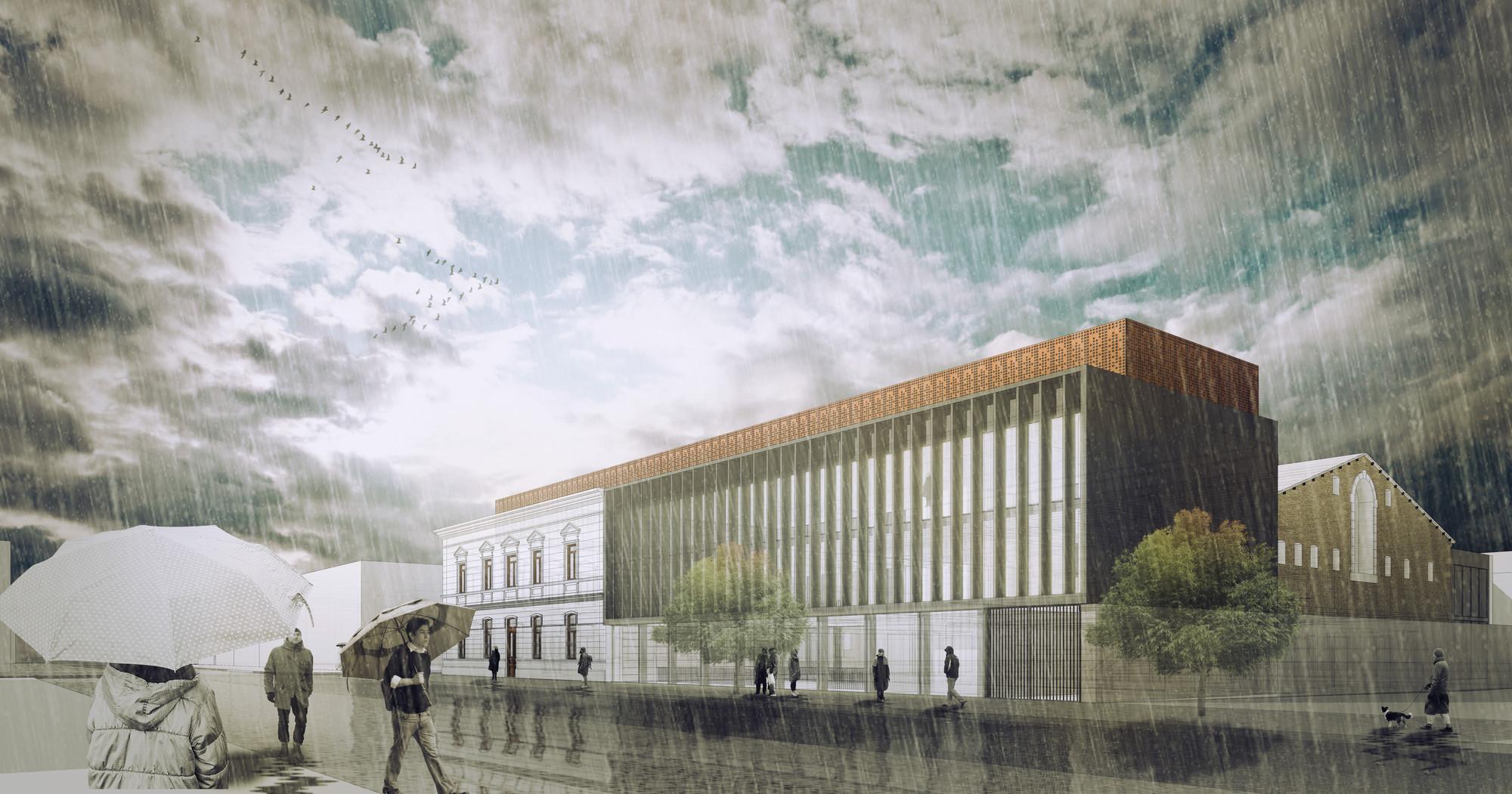 Mención Honrosa en Concurso habilitación y construcción Archivo y Biblioteca Regional de Punta Arenas / Chile, Cortesia de Equipo Mención Honrosa