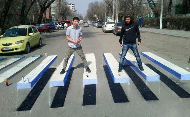 Intervenções artísticas em faixas de pedestres
