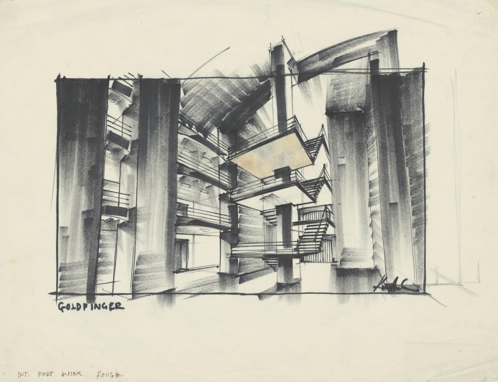 "Meet the Film Industry's Most Successful Architect in Deutsche Kinemathek's Latest Exhibition, Design of ""Fort Knox"" for Goldfinger, GB/USA 1964, Directed by Guy Hamilton. Image © Sir Ken Adam, Deutsche Kinemathek – Ken Adam Archive"