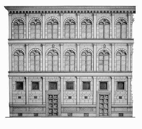 La Fachada, naturaleza multi-escalar y multi-disciplinar, Palazzo Rucellai (1446-1451) de Alberti. Imagen Cortesía de Alejandra Celedón