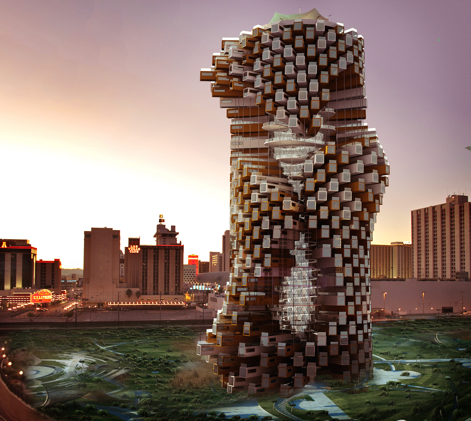 M-Rad Proposes Live-Work Towers to Revitalize Downtown Las Vegas, © M-Rad