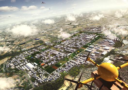 La propuesta para el Heathrow Airport (Hawkins\Brown, 'Romance of the Sky) contempla la existencia de drones. Pero ¿Define el diseño urbano de la propuesta el rol de los drones en la esfera urbana? Imagen © Factory Fifteen