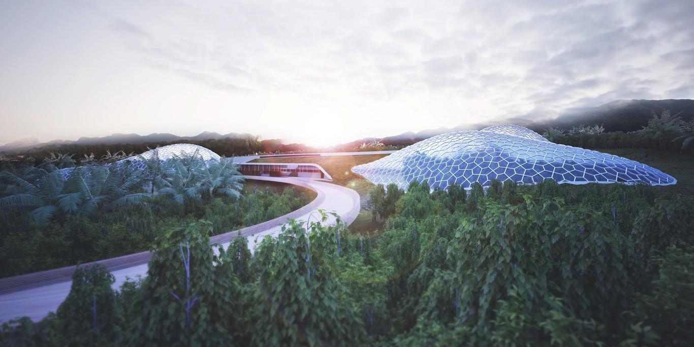 Urbana Arquitetura propõe estufas de biomas artificiais em Inhotim, Vista externa. Image Cortesia de Urbana Arquitetura
