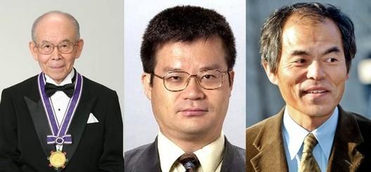 Profesores Akasaki, Amano e Nakamura criaram os primeiros LEDs azuis no início dos anos 90. Imagem © Vía BBC