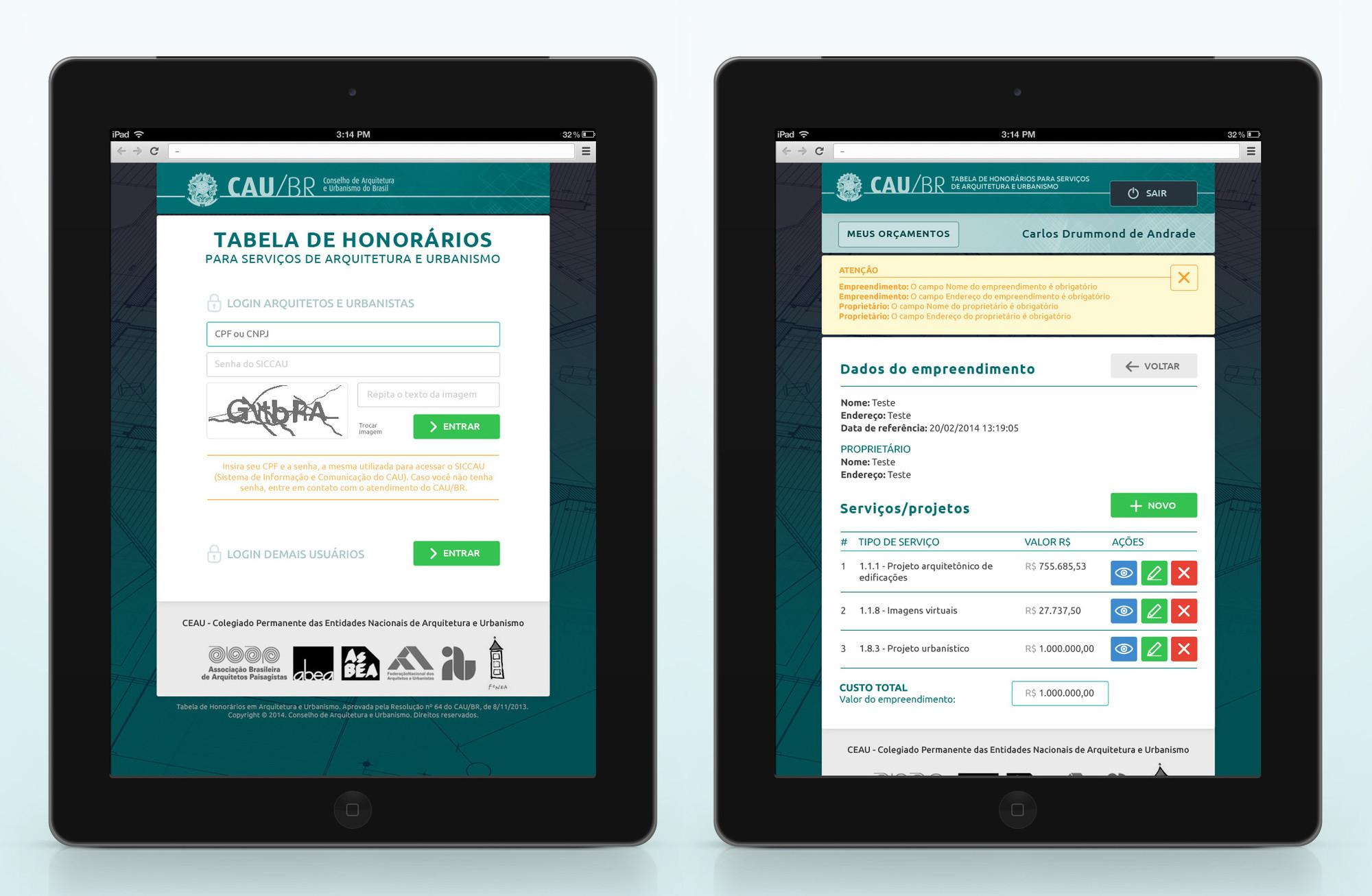 CAU lança tabela de honorários online, Cortesia de CAU