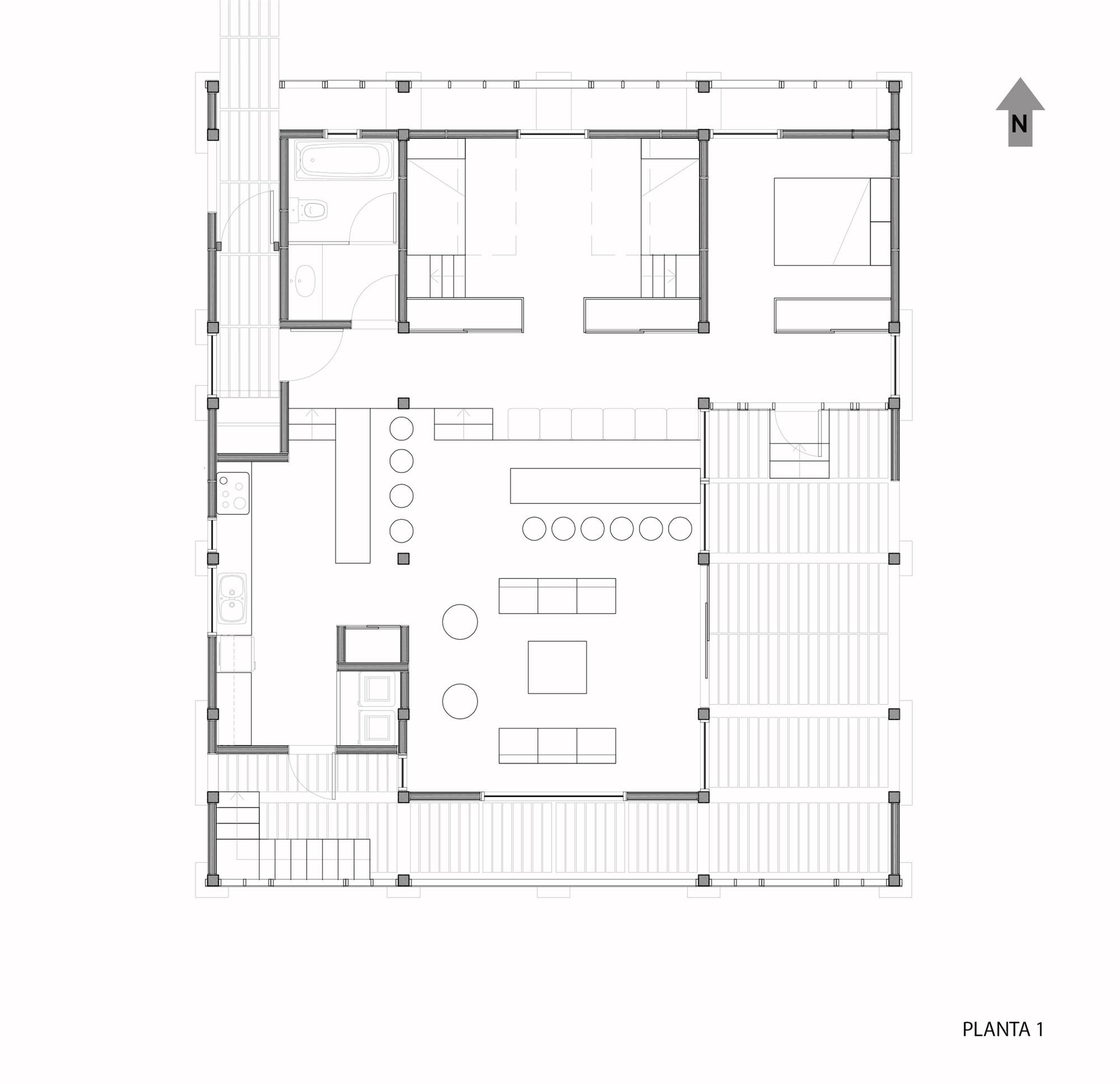 Casa holmes fuentealba francis pfenniger plataforma for Planta arquitectonica biblioteca