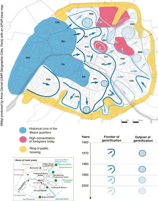 Dinâmicas espaciais da gentrificação em Paris desde a década de 1960. Imagem © Anne Clerval, 2008