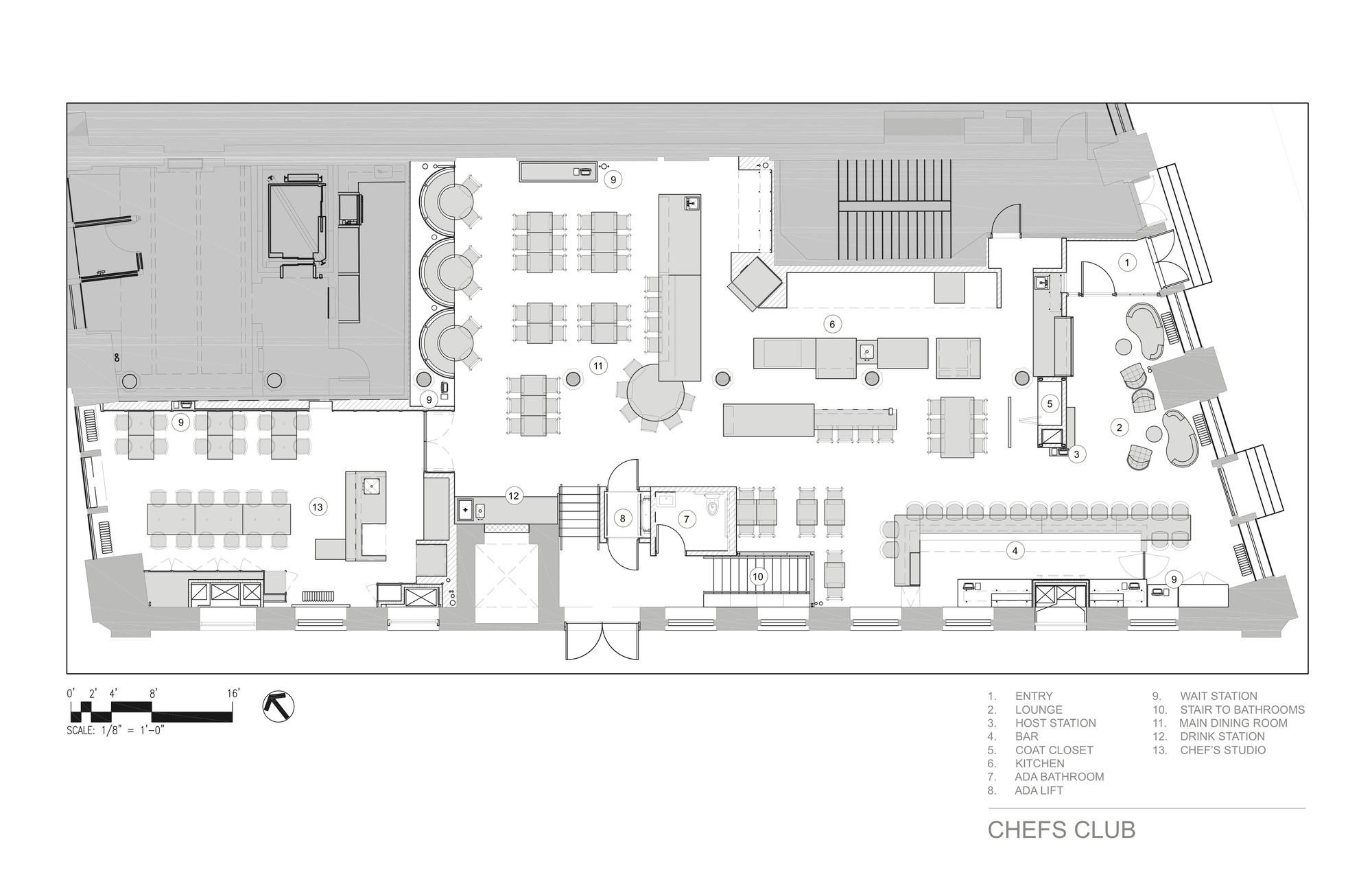 Gallery of chefs club by food wine rockwell group 14 for Winery floor plans by architects