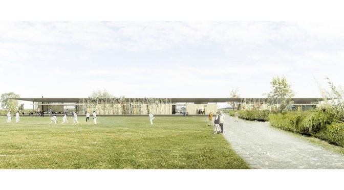 Four Shortlisted for Sessay Sports Pavilion , One of four shortlisted proposals (click to view them all). Image Courtesy of The Architects' Journal
