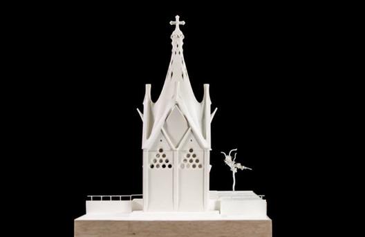 """Model of the """"Our Lady of Angels"""" Chapel. Image © Corporación Gaudí de Triana"""