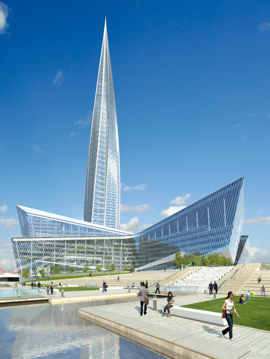 Why Putin Likes Columns: 21st Century Russia Through the Lens of Architecture, Rendering of the proposed Lakhta Center in St Petersburg. Image Courtesy of www.proektvlahte.ru