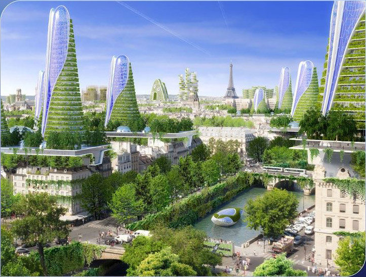 "Vincent Callebaut's 2050 Vision of Paris as a ""Smart City"", View of the comprehensive city plan. Image Courtesy of Vincent Callebaut Architecture"