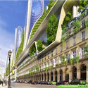 Mountain Towers from street level. Image Courtesy of Vincent Callebaut Architecture