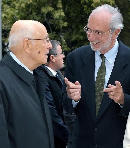 President Giorgio Napolitano and Renzo Piano (2012). Image Courtesy of La Repubblica
