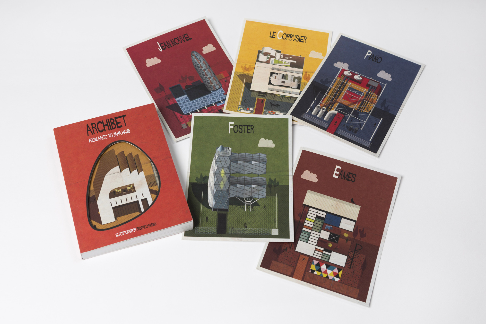 Win a Postcard Set of Federico Babina's Archibet, the Illustrated Alphabet of Architects, Archibet / Federico Babina. Image Courtesy of Laurence King