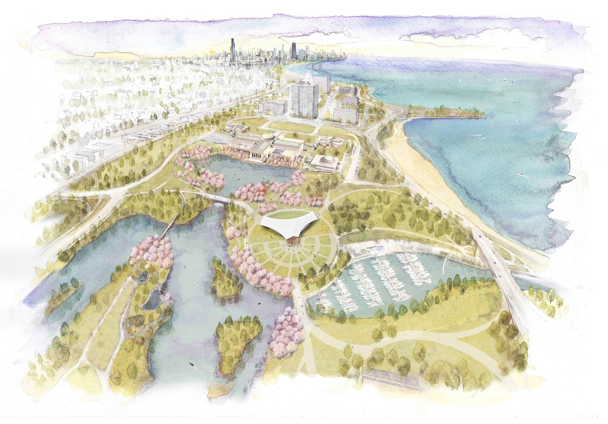 Yoko Ono and Project 120 Collaborate to Reimagine Chicago's Jackson Park, Aerial View of the Park. Image Courtesy of Project 120 Chicago
