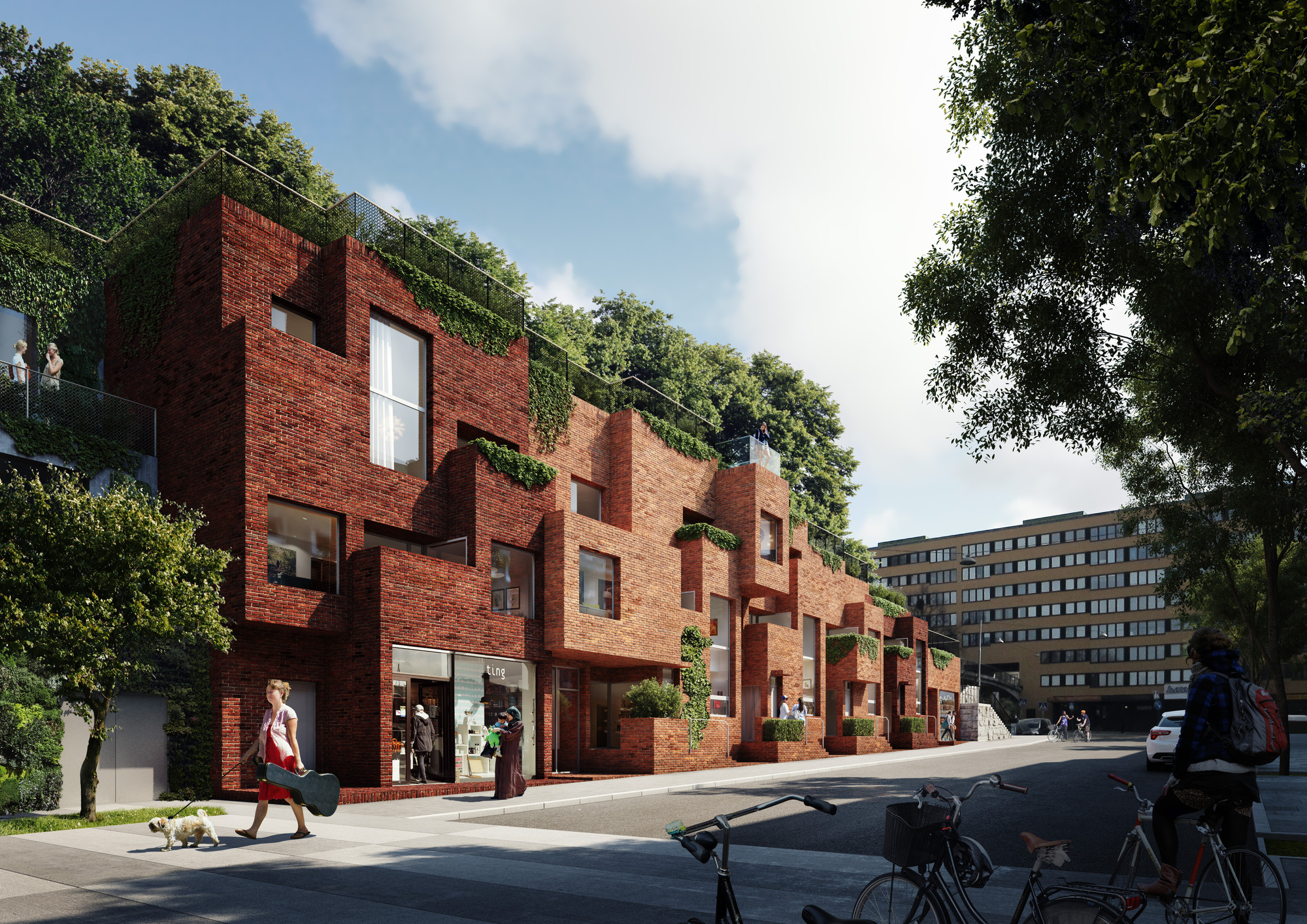 Utopia Arkitekter Designs Apartment Block with Rooftop Park for Stockholm, One of three new housing blocks in Hornsbruksgatan. Image Courtesy of Utopia Arkitekter