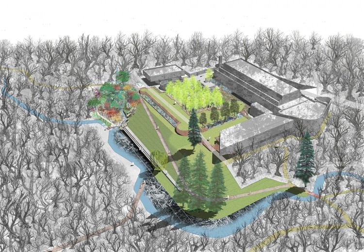 "St. Peter's Seminary: 'La Tourette' With ""Scottish Inspirations"", Landscaped overview (proposed). Image Courtesy of ERZ Landscape Architects"