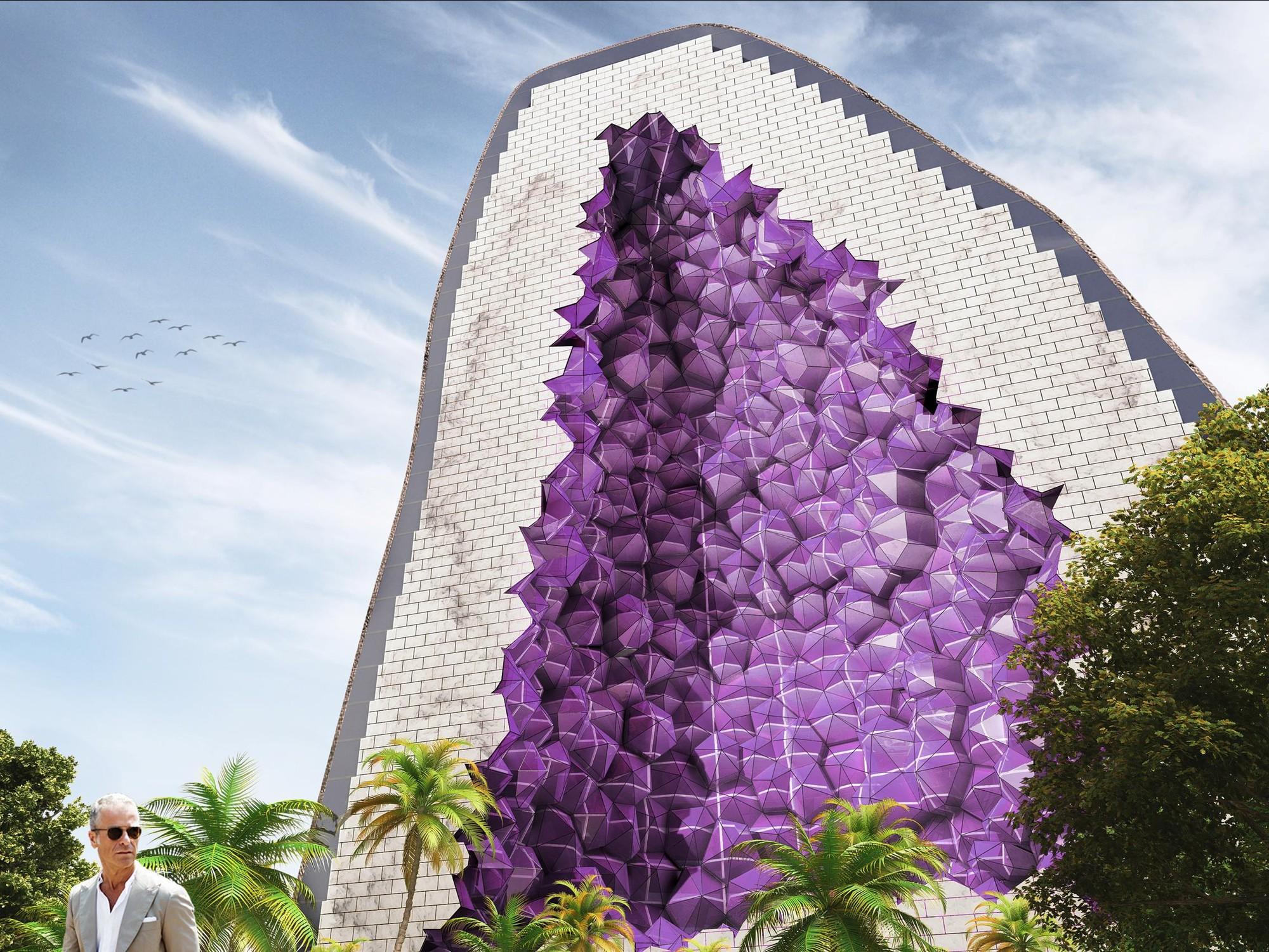 NL Architects propone diseño para impactante cadena de Hoteles inspirados en la Amatista, Vista desde la base de la torre. Imagen Cortesía de NL Architects