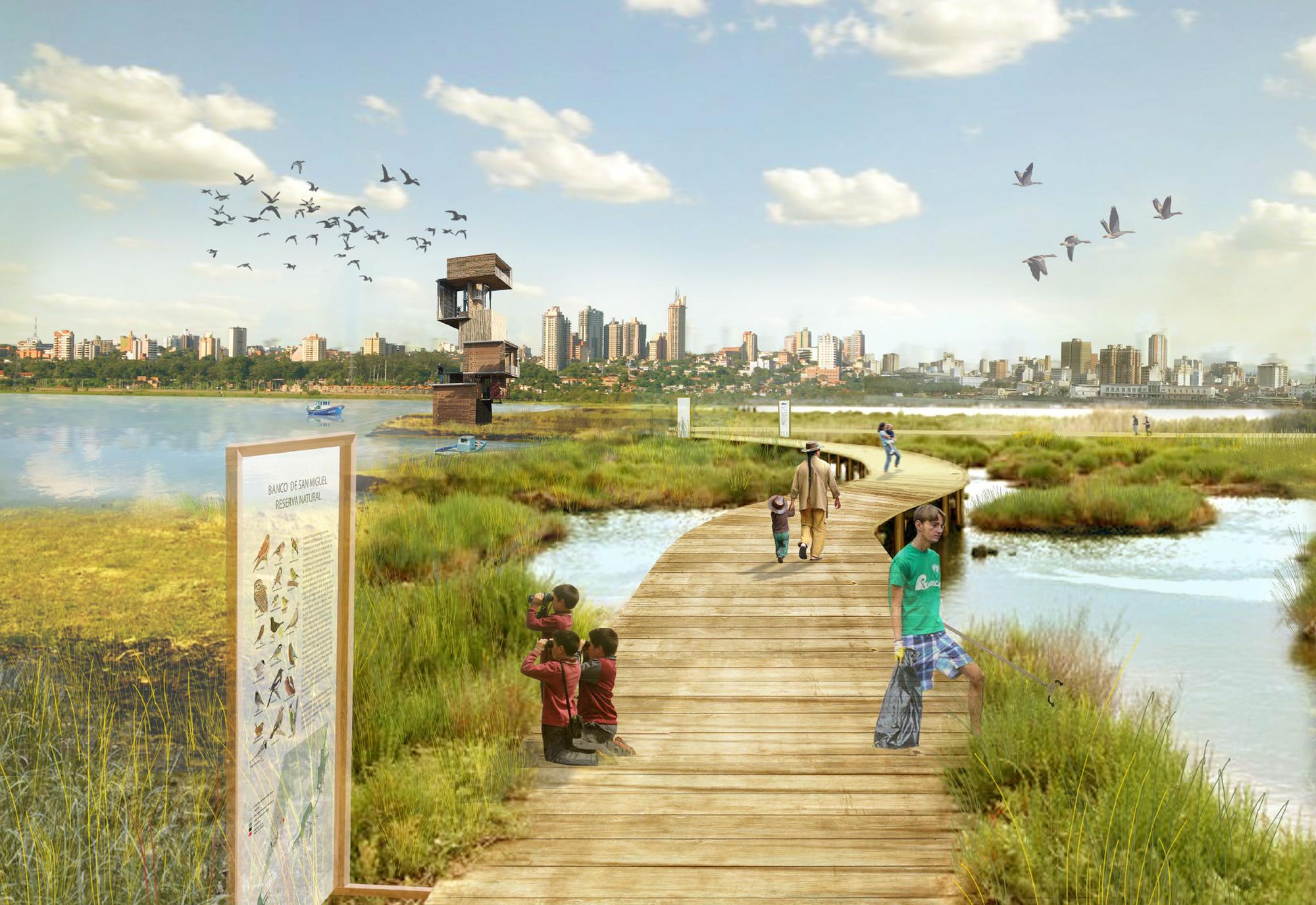 Presentan detalles del Plan CHA, el proyecto que busca transformar Asunción, Vista del skyline de Asunción desde el Banco de San Miguel. Image Cortesia de Plan CHA