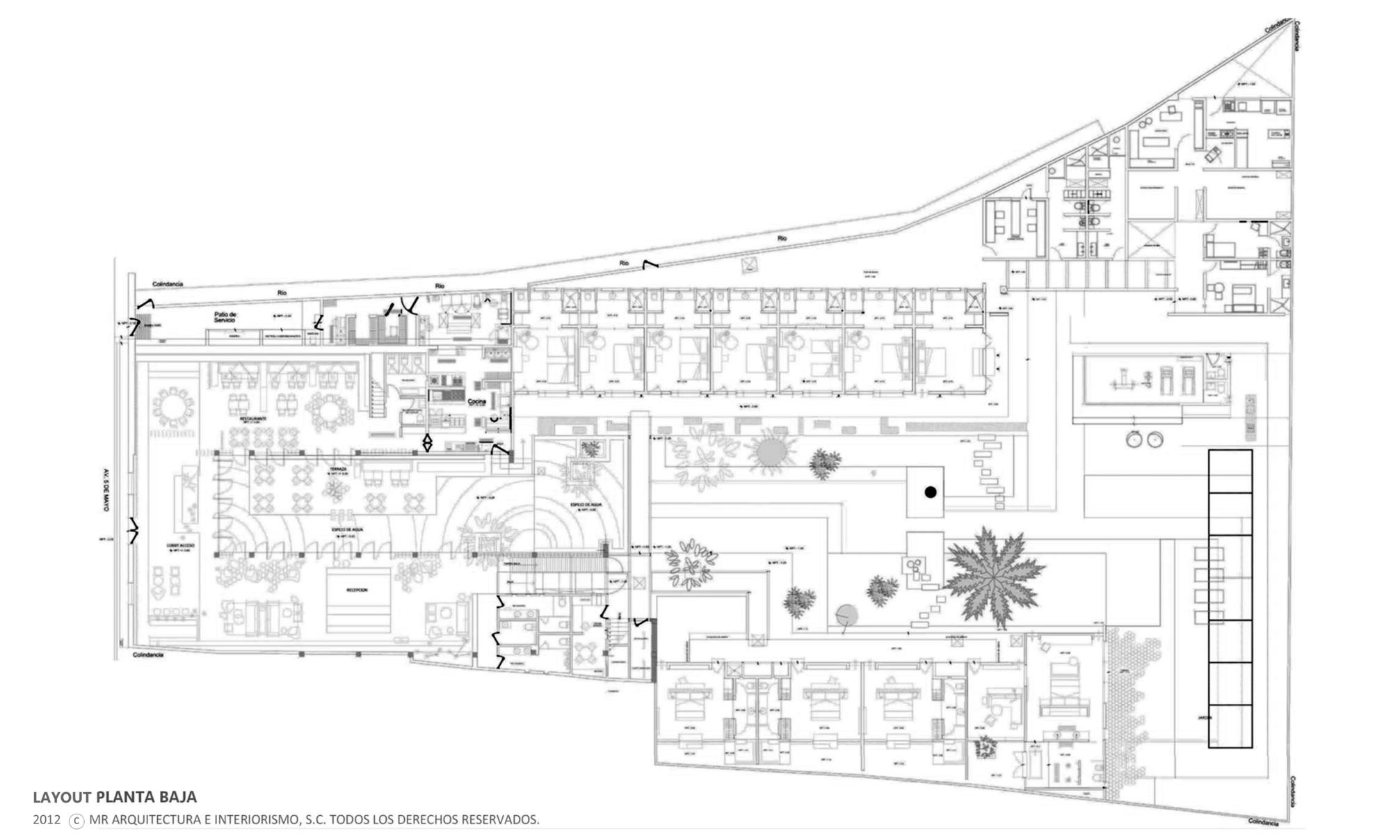 Gallery of b o hotel muro rojo arquitectura 18 for Plan de arquitectura