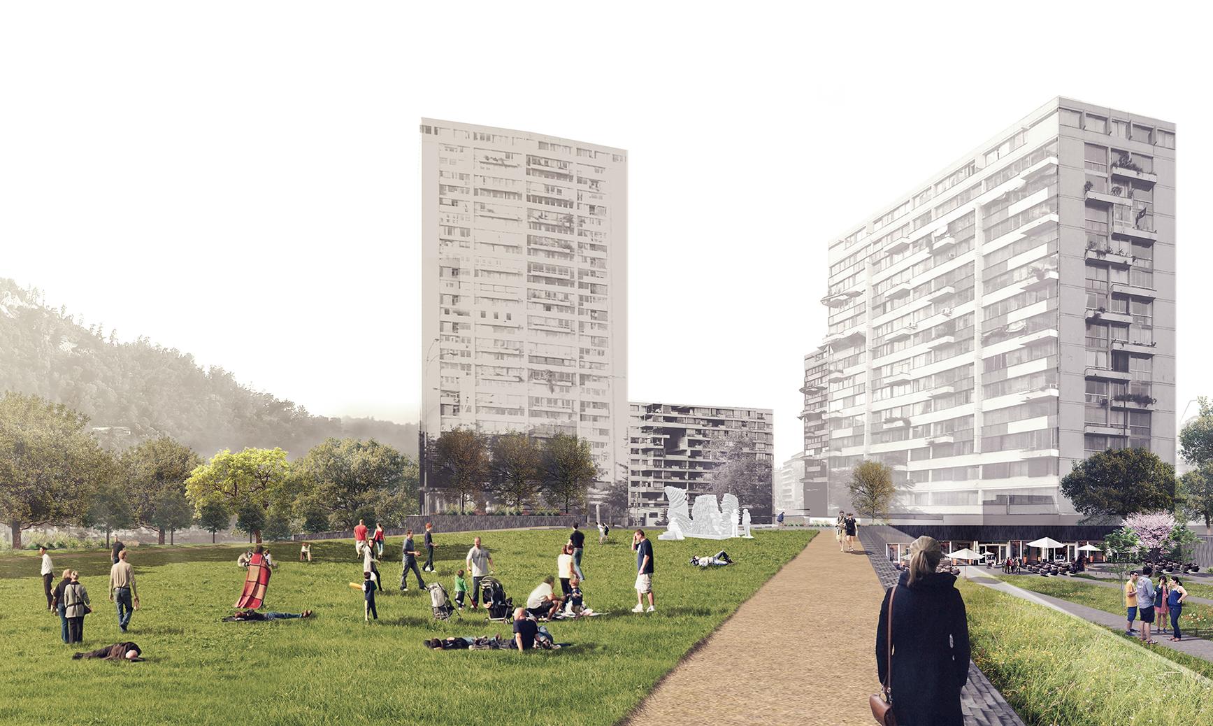 Primer Lugar en Concurso para plaza pública de Torres de Tajamar / Murtinho + Raby Arquitectos, Cortesia de Municipalidad de Providencia