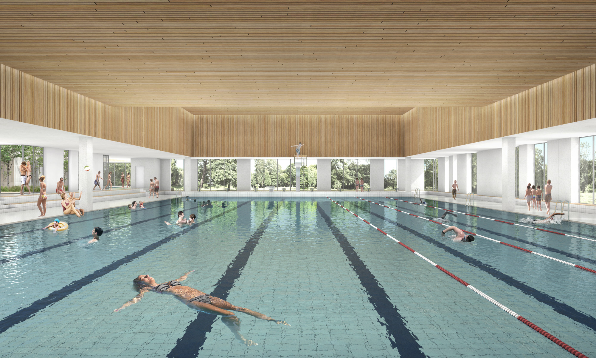 Creo Arkitekter And Jaja Architects To Restore And Expand Roskilde Swimming Hall Outside