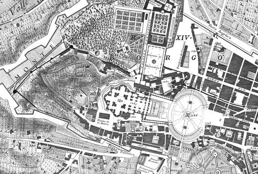 Giambattista Nolli's Map of Rome, 1784 (detalhe, Vaticano)