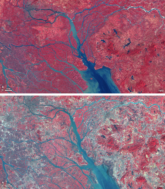 China's Pearl River Delta Overtakes Tokyo as World's Largest Urban Area, The Pearl River Delta's urban growth in 1973 and 2003. Image © Flicker CC user NASA Goddard Space Flight Center