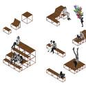 Mobiliário urbano. Image Cortesia de Ravaglia & Philot + Bruno Amadei, Isadora Riker, Liebert Rodrigues, Luisa Gonçalves, Miguel Viñas