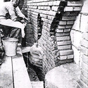 Constructing the wall relief. Image © The Henry Moore Foundation