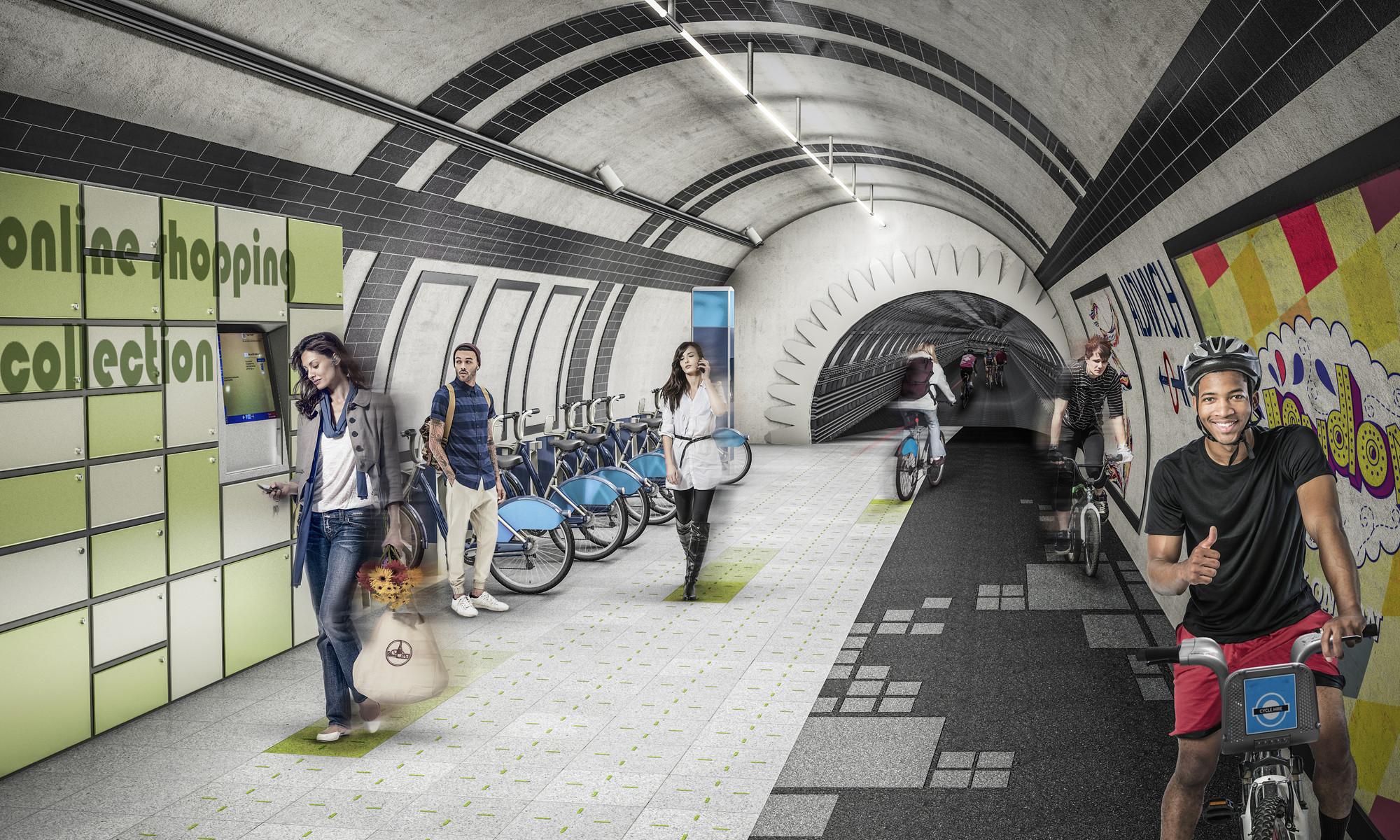 London Underline: Gensler propõe rede de transporte subterrâneo para pedestres e ciclistas em Londres, Túnel de bicicletas. Cortesia de Gensler
