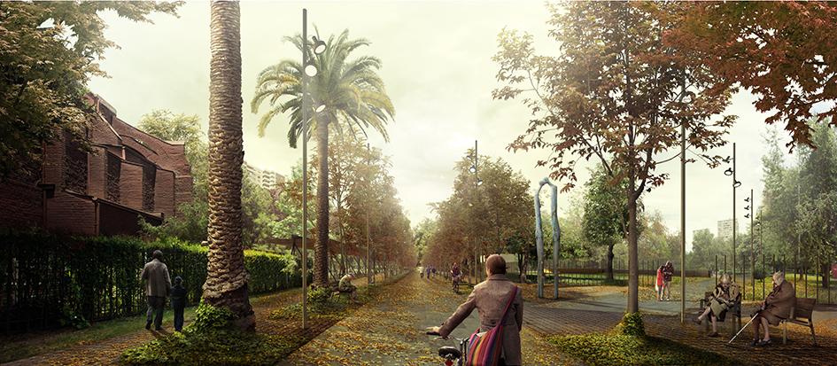 Chile: Cristobal Tirado defiende proyecto ganador de Parque Museo Humano San Borja ante críticas devecinos, Acceso norte al Parque San Borja. Image Cortesia de BBATS + TIRADO