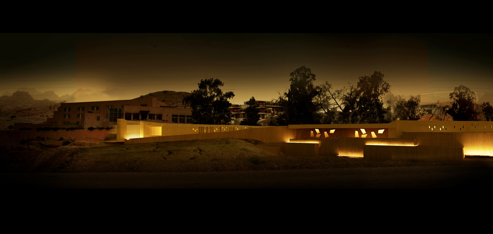 Maisam Creates A Gateway to Petra, Night view from the Wadi. Image © maisam architects & engineers