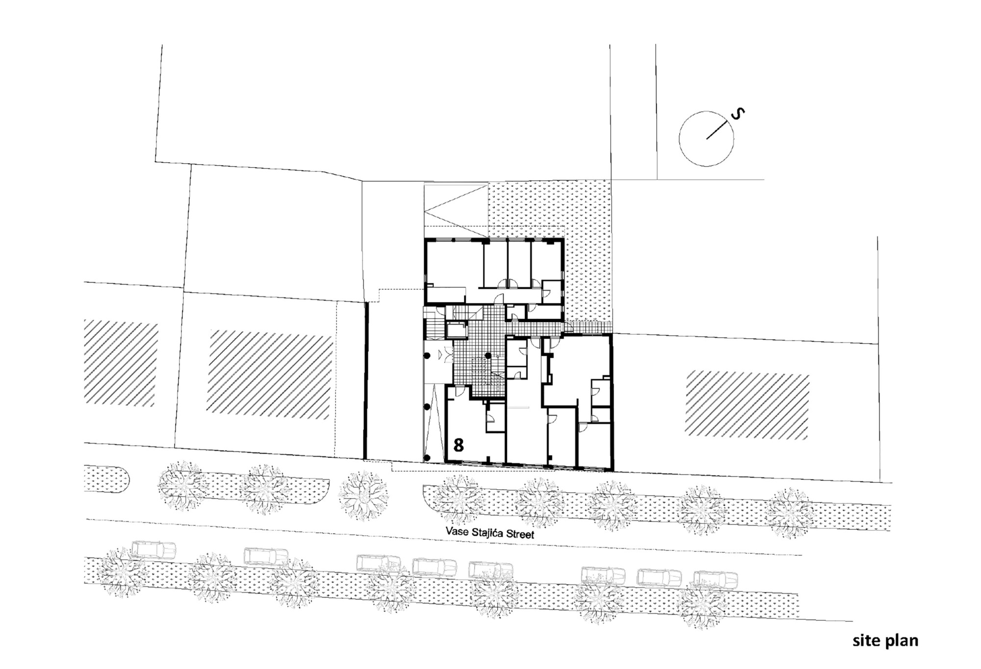 Gallery of residential building in vase staji a street for Residential site plan