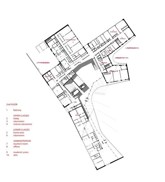Escuela Saunalahti / VERSTAS Architects: segundo nivel. Image Cortesía de VERSTAS Architects
