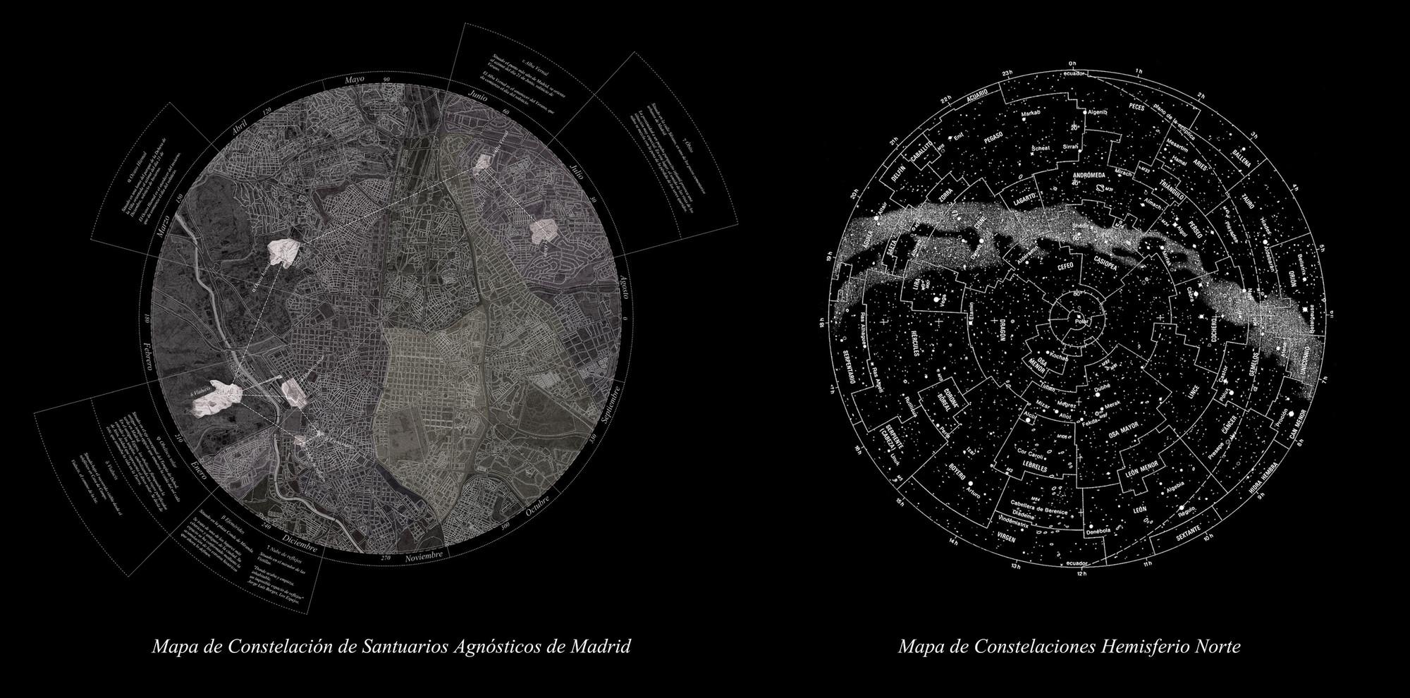 Constelação de Santuários Agnósticos: Sete intervenções em Madri, Constelación de Santuarios Agnósticos. Cortesia de Lucía Barrantes Egaña