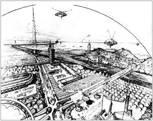 Opinión: La ciudad desde las alturas. Bicicletas y grandes viaductos urbanos, © Broadacre City de Wright. Fuente: Vidal (2011)