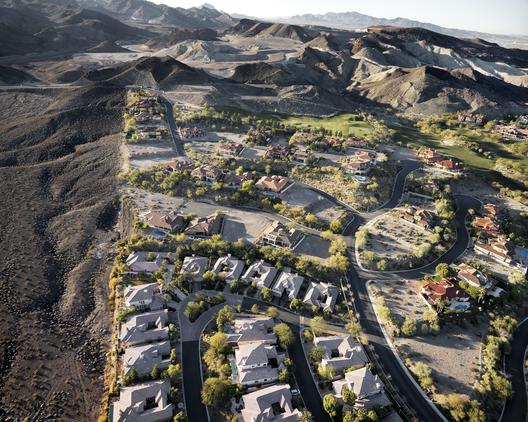 """""""Barcelona"""" Homes and the Edge of Lake Mead Recreation Area, Lake Las Vegas, Henderson, NV; 2011. Image © Michael Light, Lake Las Vegas/Black Mountain"""