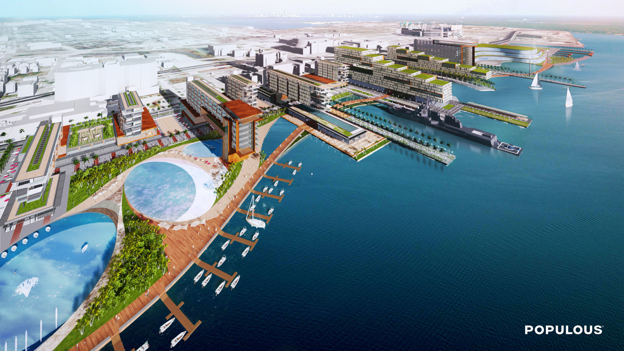 Populous Unveils Plan to Redevelop Jacksonville's Shipyards District, Shipyards aerial view. Image Courtesy of Populous