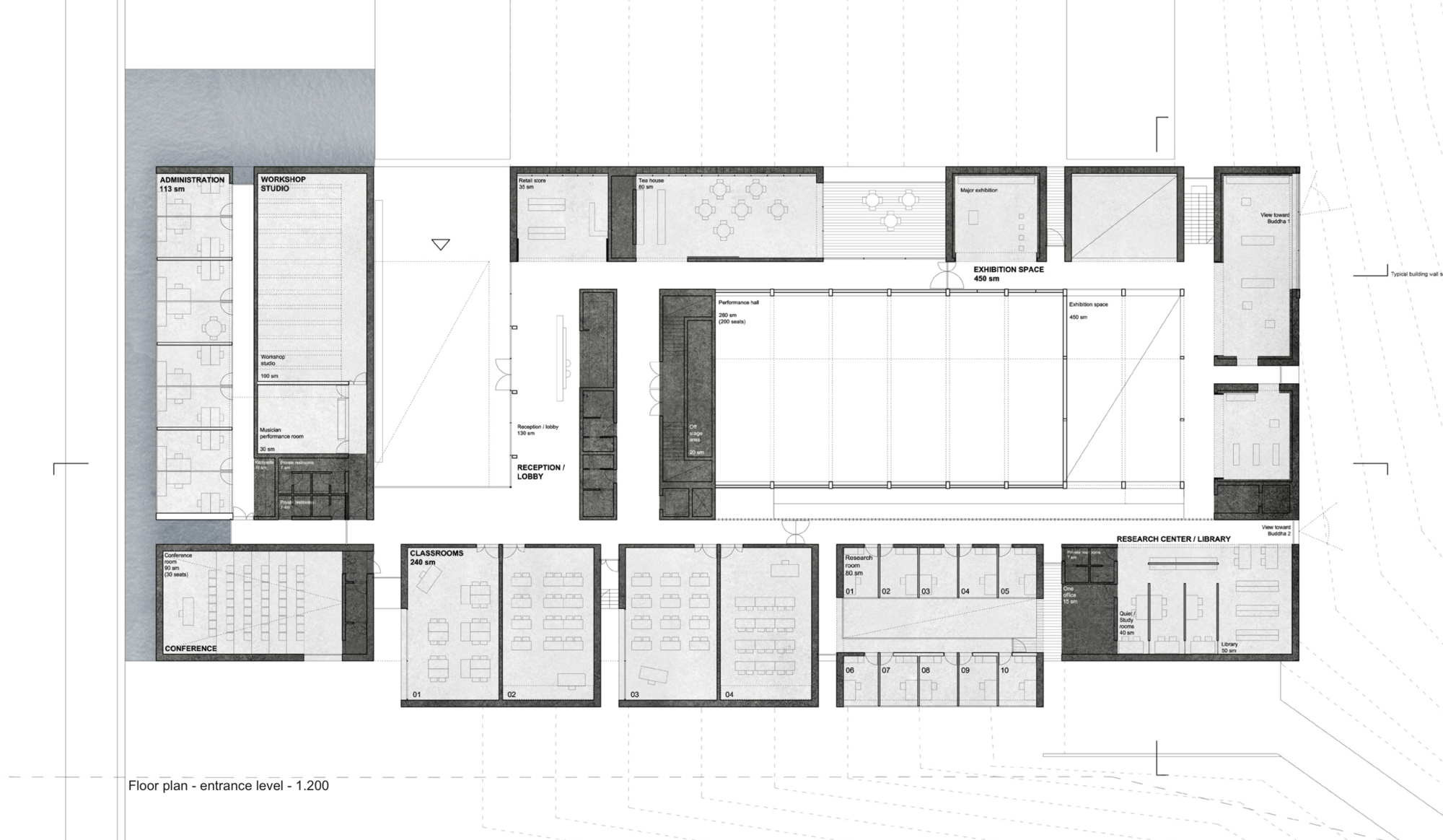 unesco reveals winning scheme for the bamiyan cultural centre in runner up 2 ground floor plan image courtesy of unesco