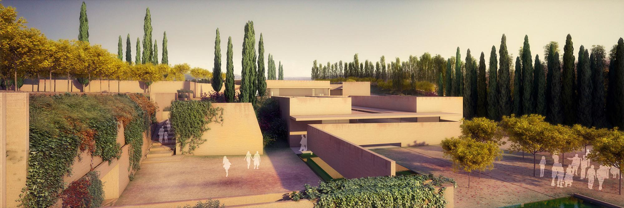 """Exposição """"Visões do Alhambra"""" mostra intervenção de Álvaro Siza em monumento histórico de Granada, Átrio Alhambra I Pátio Hera. Image © Alvaro Siza Vieira + Juan Domingo Santos; Render por LT Studios"""