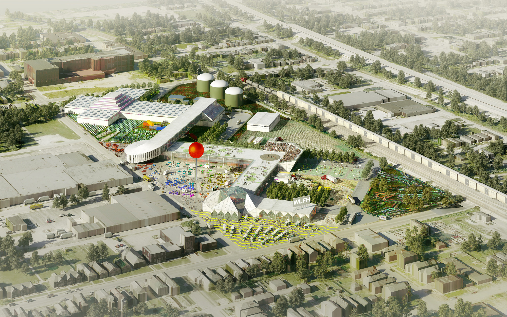 OMA Designs Food Port for West Louisville, View from Market Street. Image © OMA / Robota