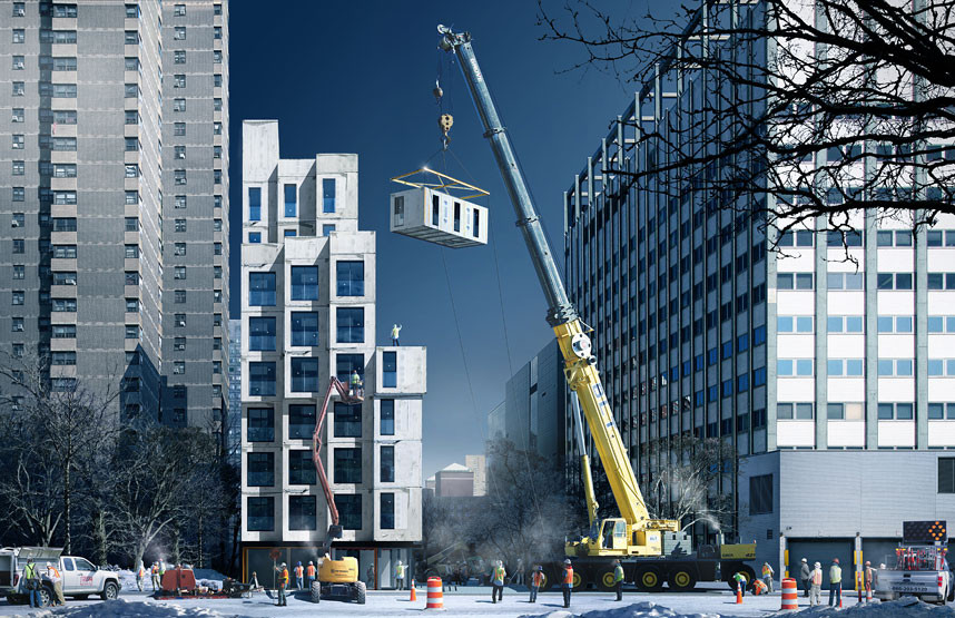 "New York to Complete First Prefabricated ""Micro-Apartments"" this Year, Courtesy of nARCHITECTS / NYC Mayor's Office"
